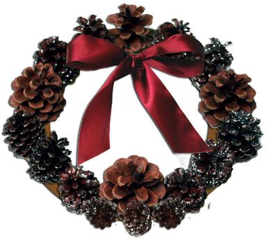 Новогодние украшения своими руками: Венок из шишек