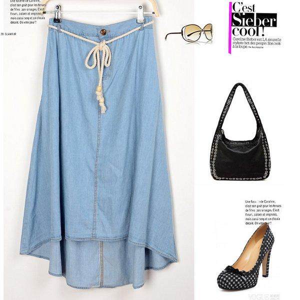 Джинсовая юбка макси - с чем носить?