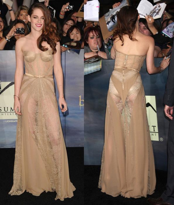 Платье Кристен Стюарт сзади на премьере Сумерки. Сага. Рассвет. Часть 2